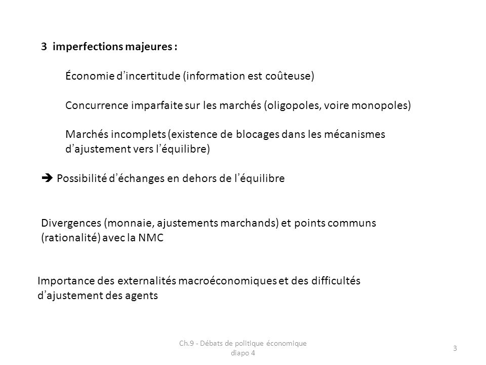 Ch.9 - Débats de politique économique diapo 4 3 3 imperfections majeures : Économie dincertitude (information est coûteuse) Concurrence imparfaite sur