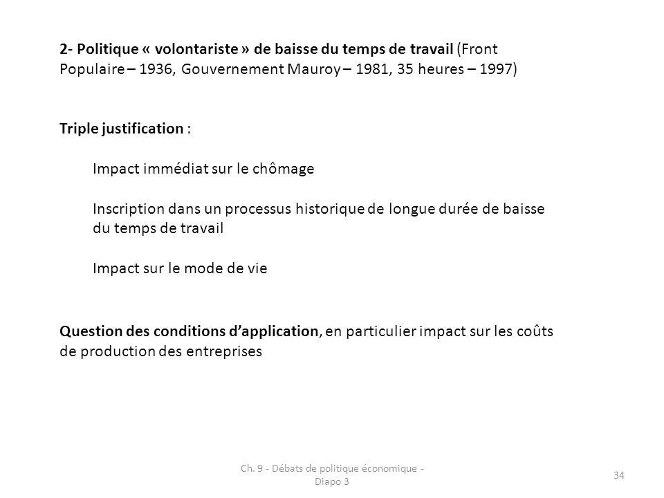Ch. 9 - Débats de politique économique - Diapo 3 34 2- Politique « volontariste » de baisse du temps de travail (Front Populaire – 1936, Gouvernement