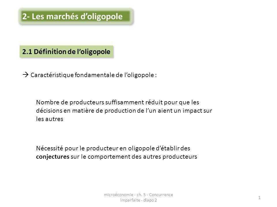 Caractéristique fondamentale de loligopole : Nombre de producteurs suffisamment réduit pour que les décisions en matière de production de lun aient un