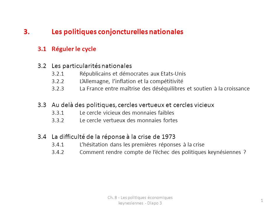 Ch. 8 - Les politiques économiques keynesiennes - Diapo 3 1 3.Les politiques conjoncturelles nationales 3.1Réguler le cycle 3.2Les particularités nati