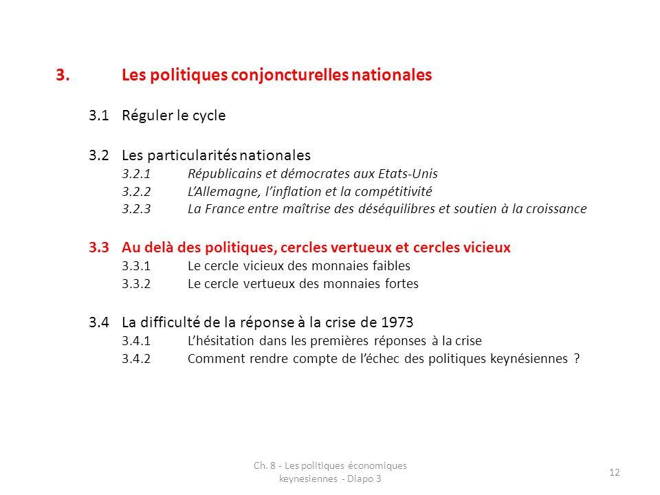 Ch. 8 - Les politiques économiques keynesiennes - Diapo 3 12 3.Les politiques conjoncturelles nationales 3.1Réguler le cycle 3.2Les particularités nat