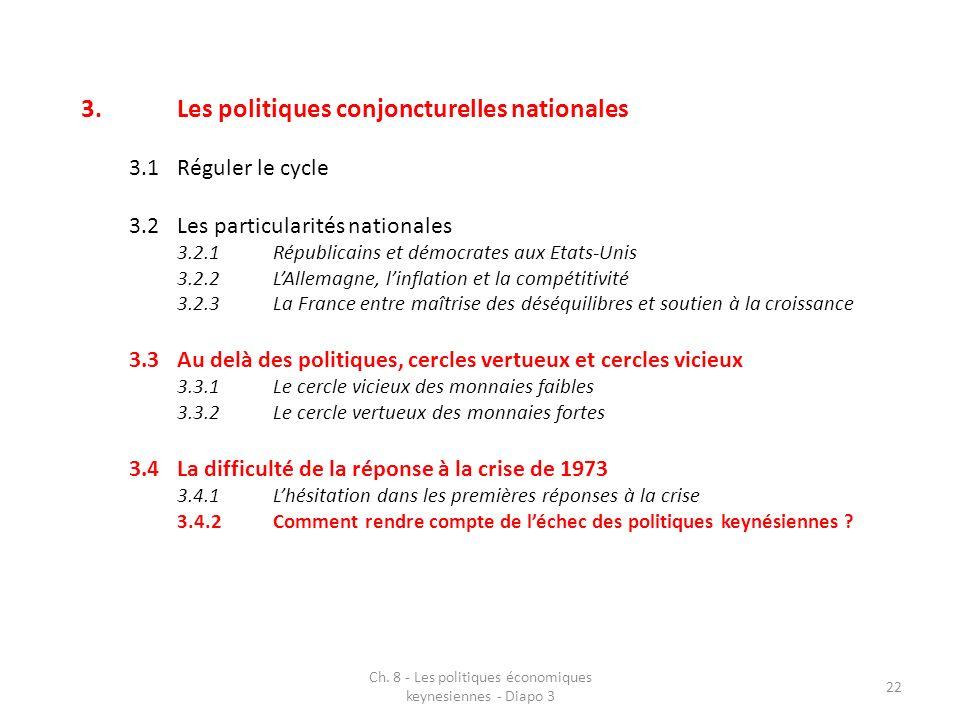 Ch. 8 - Les politiques économiques keynesiennes - Diapo 3 22 3.Les politiques conjoncturelles nationales 3.1Réguler le cycle 3.2Les particularités nat