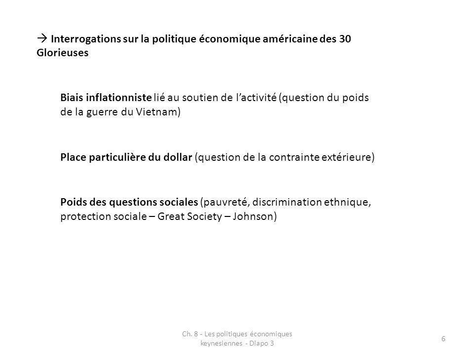 Ch. 8 - Les politiques économiques keynesiennes - Diapo 3 6 Interrogations sur la politique économique américaine des 30 Glorieuses Biais inflationnis