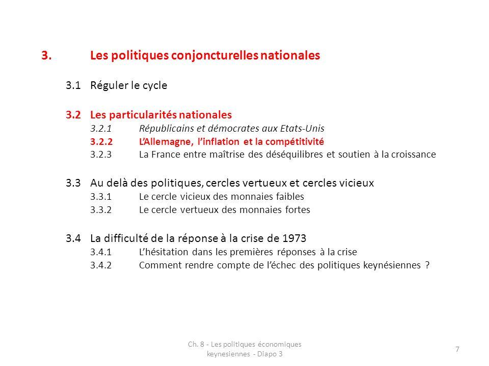 Ch. 8 - Les politiques économiques keynesiennes - Diapo 3 7 3.Les politiques conjoncturelles nationales 3.1Réguler le cycle 3.2Les particularités nati
