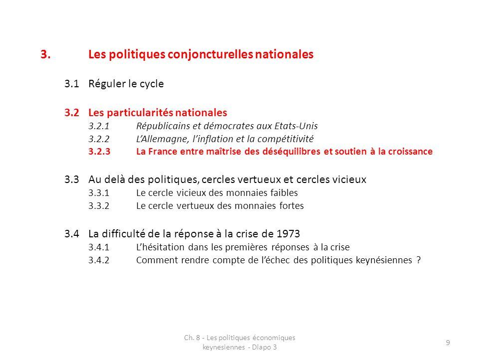 Ch. 8 - Les politiques économiques keynesiennes - Diapo 3 9 3.Les politiques conjoncturelles nationales 3.1Réguler le cycle 3.2Les particularités nati