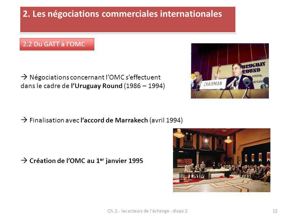 Ch. 2 - les acteurs de l'échange - diapo 212 2. Les négociations commerciales internationales 2.2 Du GATT à lOMC Création de lOMC au 1 er janvier 1995