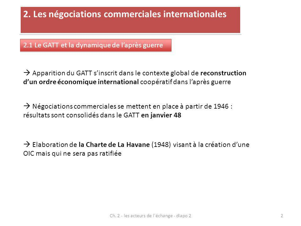 2. Les négociations commerciales internationales 2.1 Le GATT et la dynamique de laprès guerre Apparition du GATT sinscrit dans le contexte global de r