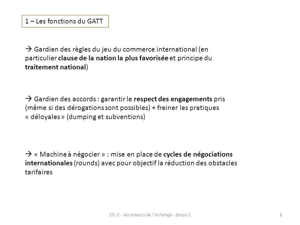 1 – Les fonctions du GATT Gardien des règles du jeu du commerce international (en particulier clause de la nation la plus favorisée et principe du tra