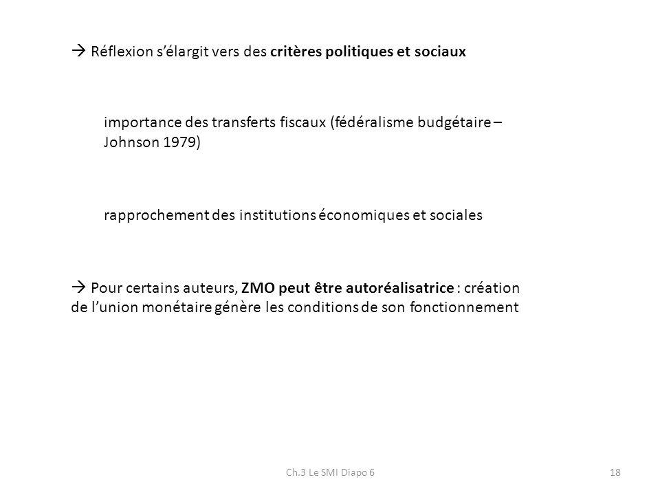 Ch.3 Le SMI Diapo 618 Réflexion sélargit vers des critères politiques et sociaux importance des transferts fiscaux (fédéralisme budgétaire – Johnson 1