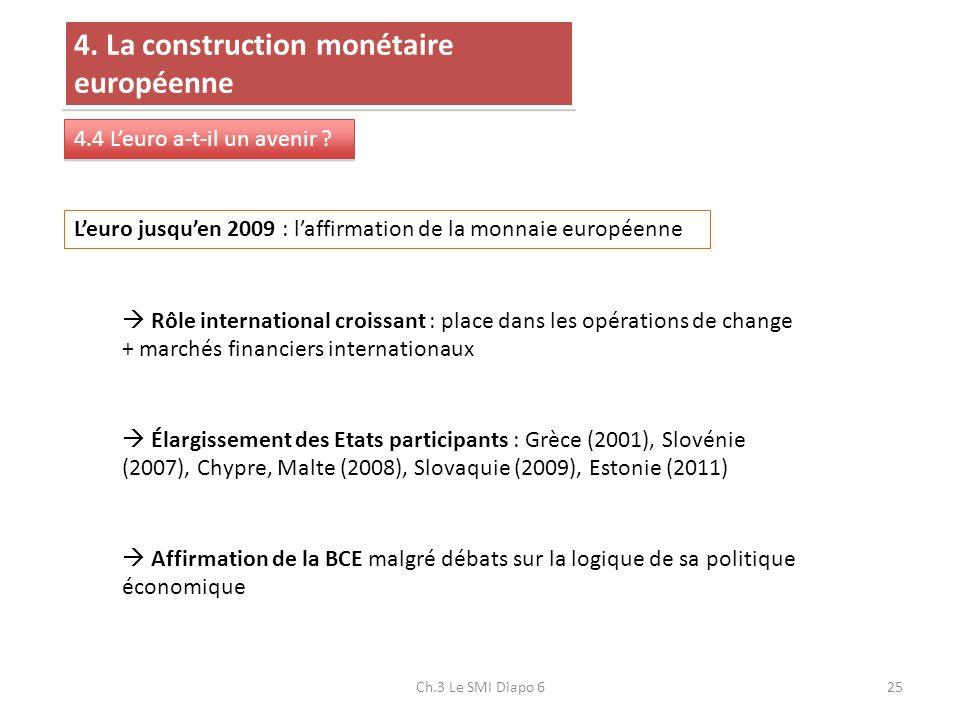 Ch.3 Le SMI Diapo 625 4. La construction monétaire européenne 4.4 Leuro a-t-il un avenir ? Leuro jusquen 2009 : laffirmation de la monnaie européenne