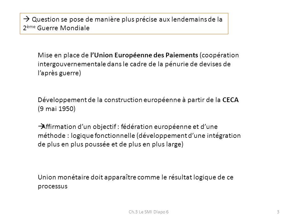 3 Question se pose de manière plus précise aux lendemains de la 2 ème Guerre Mondiale Mise en place de lUnion Européenne des Paiements (coopération in
