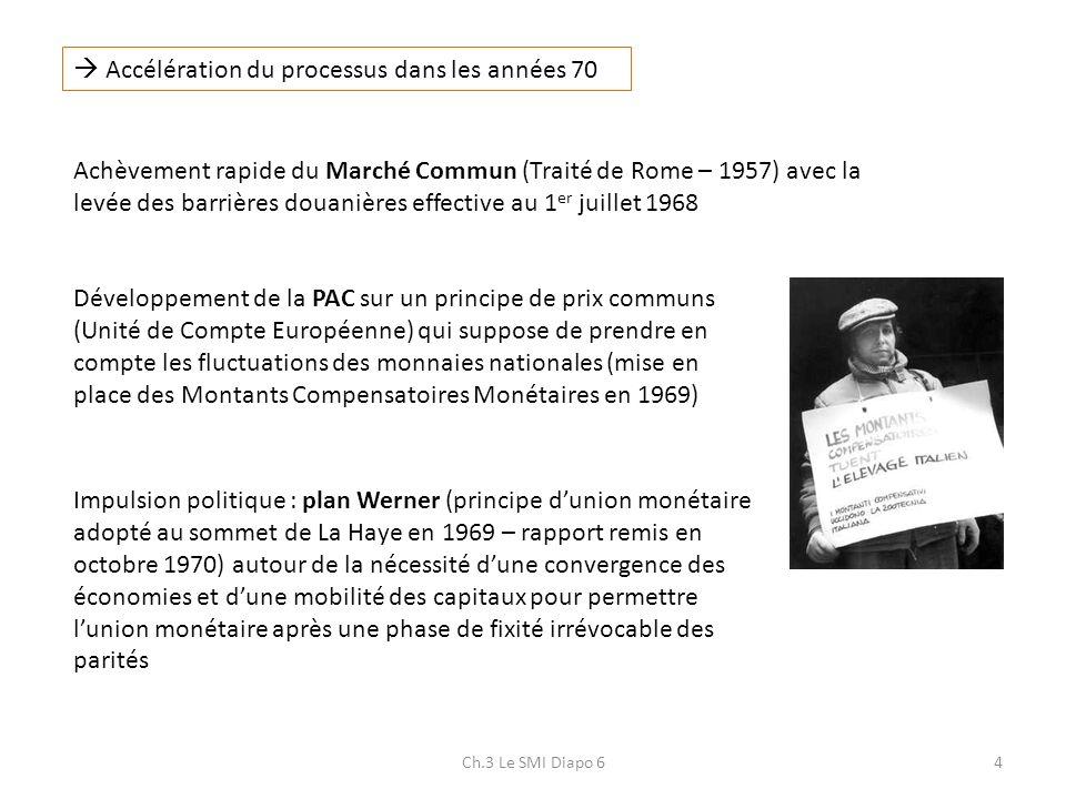 Ch.3 Le SMI Diapo 64 Accélération du processus dans les années 70 Achèvement rapide du Marché Commun (Traité de Rome – 1957) avec la levée des barrièr