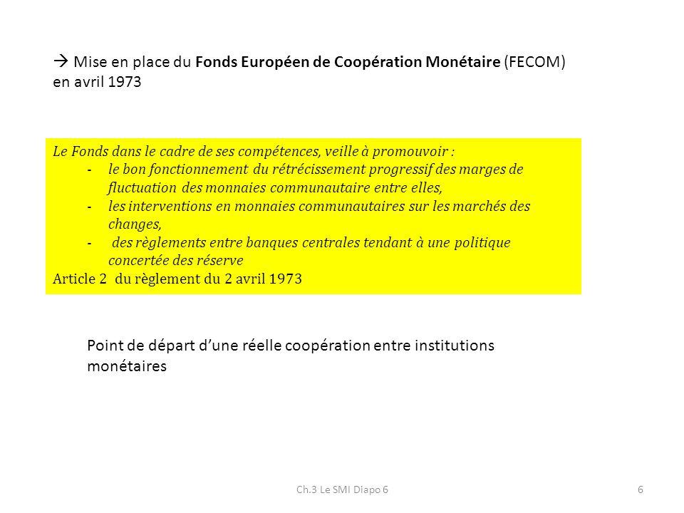 Ch.3 Le SMI Diapo 66 Mise en place du Fonds Européen de Coopération Monétaire (FECOM) en avril 1973 Le Fonds dans le cadre de ses compétences, veille