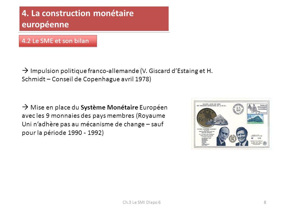 8 4. La construction monétaire européenne 4.2 Le SME et son bilan Impulsion politique franco-allemande (V. Giscard dEstaing et H. Schmidt – Conseil de