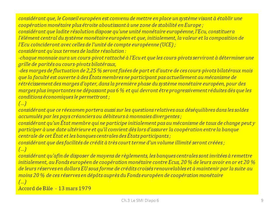 Ch.3 Le SMI Diapo 69 considérant que, le Conseil européen est convenu de mettre en place un système visant à établir une coopération monétaire plus ét