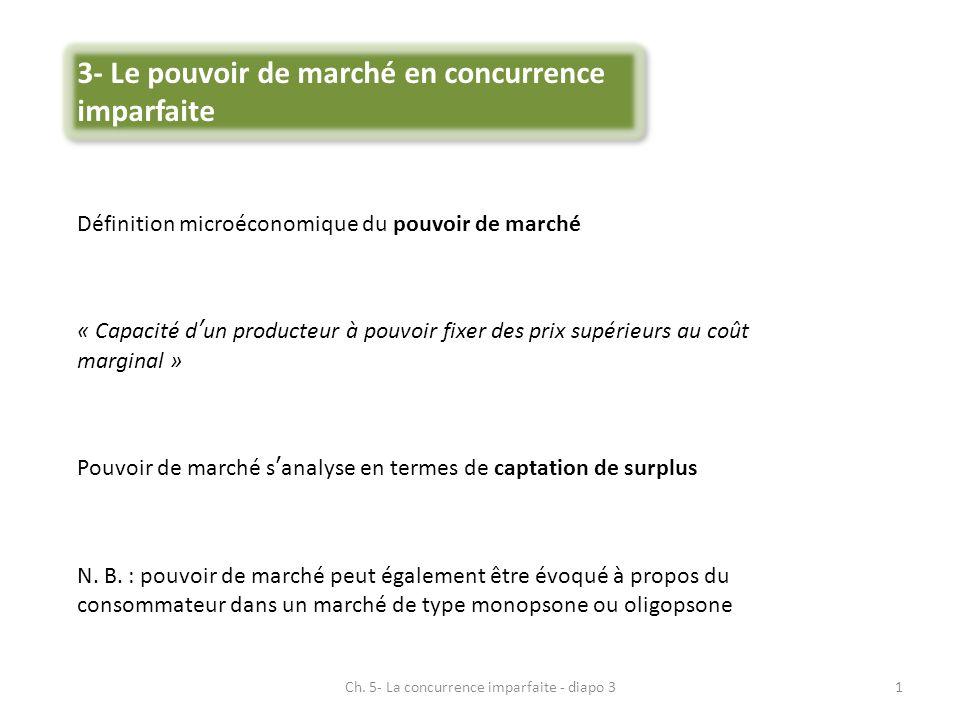 3- Le pouvoir de marché en concurrence imparfaite Définition microéconomique du pouvoir de marché « Capacité dun producteur à pouvoir fixer des prix s