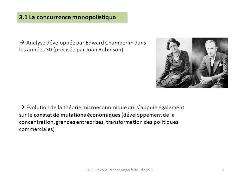 3.1 La concurrence monopolistique Analyse développée par Edward Chamberlin dans les années 30 (précisée par Joan Robinson) Évolution de la théorie mic