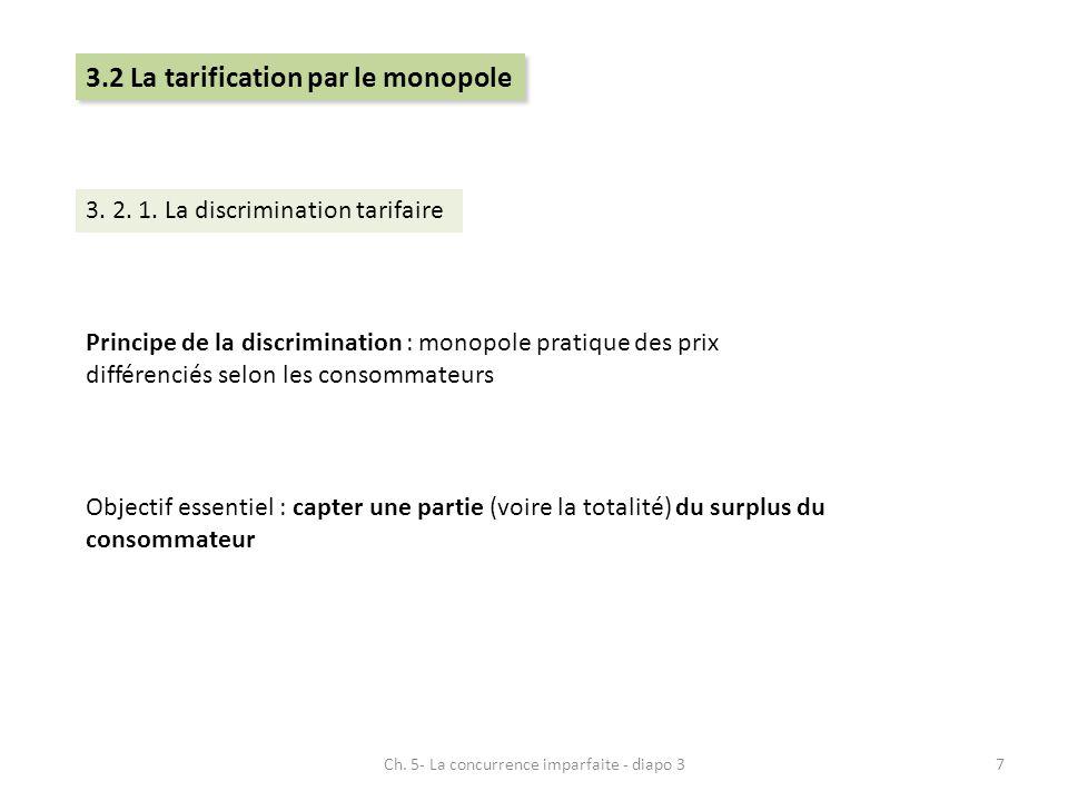 3.2 La tarification par le monopole 3. 2. 1. La discrimination tarifaire Principe de la discrimination : monopole pratique des prix différenciés selon