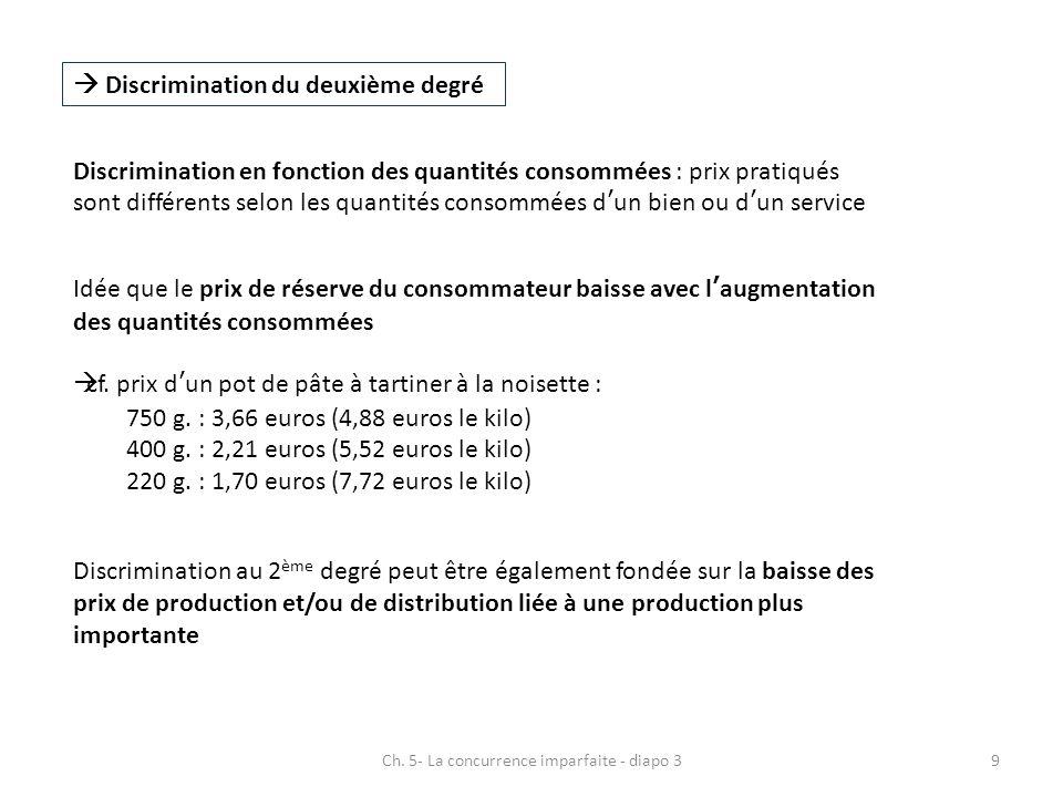 Ch. 5- La concurrence imparfaite - diapo 39 Discrimination du deuxième degré Discrimination en fonction des quantités consommées : prix pratiqués sont