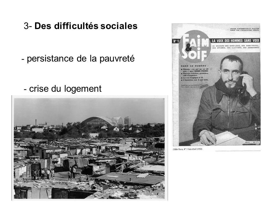 3- Des difficultés sociales - persistance de la pauvreté - crise du logement
