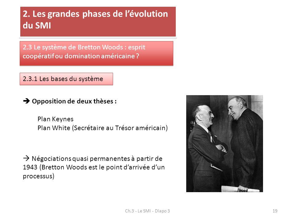 Ch.3 - Le SMI - Diapo 319 2. Les grandes phases de lévolution du SMI 2.3 Le système de Bretton Woods : esprit coopératif ou domination américaine ? 2.