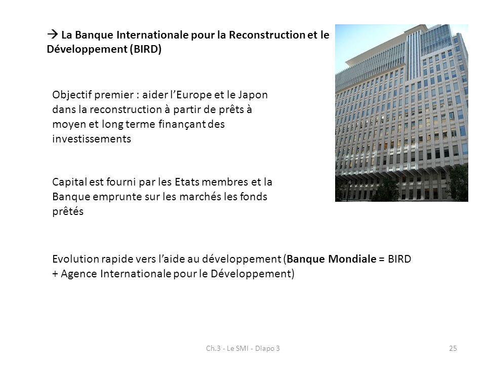 Ch.3 - Le SMI - Diapo 325 La Banque Internationale pour la Reconstruction et le Développement (BIRD) Objectif premier : aider lEurope et le Japon dans