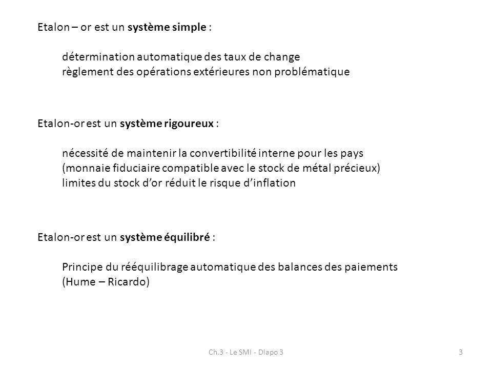 Ch.3 - Le SMI - Diapo 33 Etalon – or est un système simple : détermination automatique des taux de change règlement des opérations extérieures non pro
