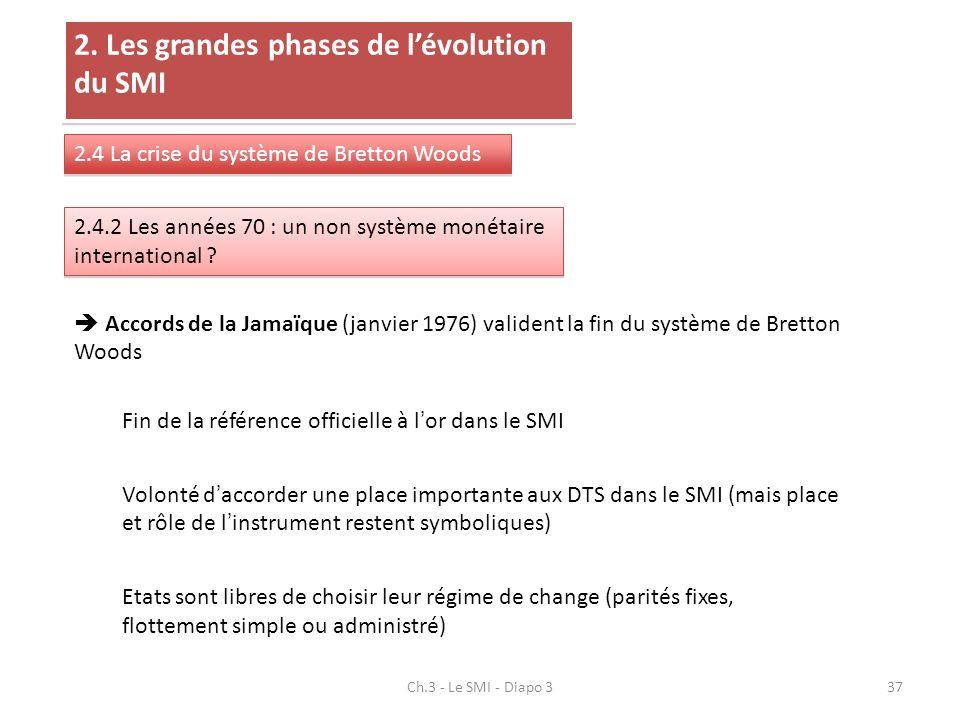 Ch.3 - Le SMI - Diapo 337 2. Les grandes phases de lévolution du SMI 2.4 La crise du système de Bretton Woods 2.4.2 Les années 70 : un non système mon