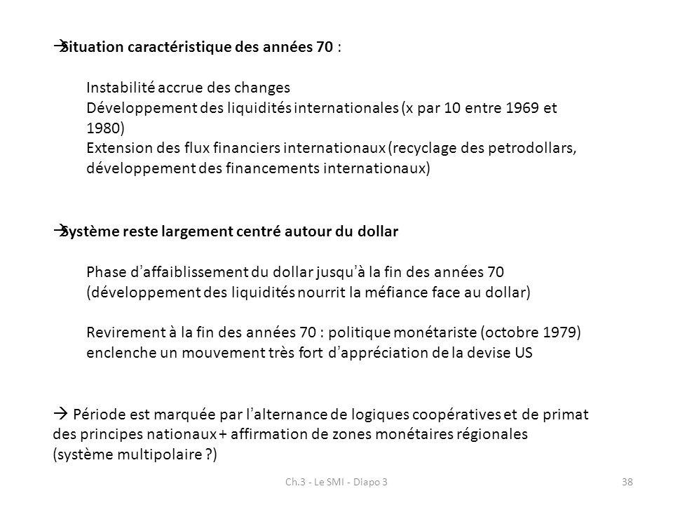 Ch.3 - Le SMI - Diapo 338 Situation caractéristique des années 70 : Instabilité accrue des changes Développement des liquidités internationales (x par