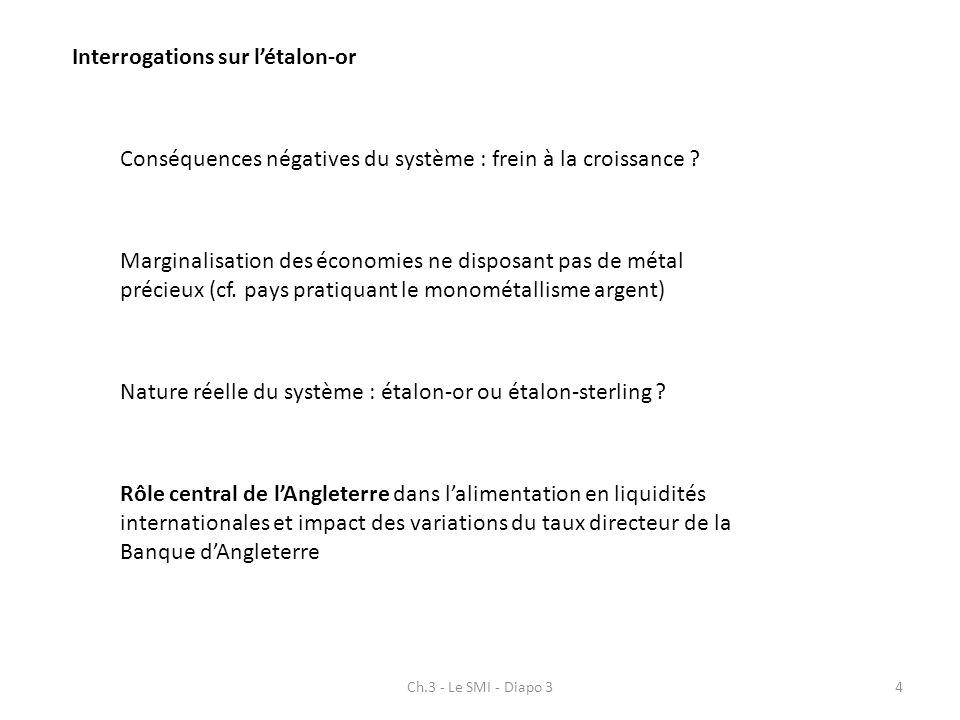 Ch.3 - Le SMI - Diapo 34 Interrogations sur létalon-or Conséquences négatives du système : frein à la croissance ? Marginalisation des économies ne di