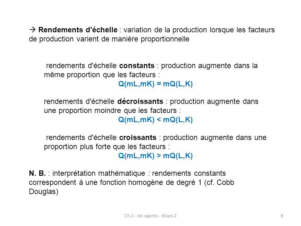 Ch.2 - les agents - diapo 28 Rendements d'échelle : variation de la production lorsque les facteurs de production varient de manière proportionnelle r