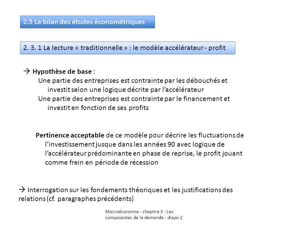 Macroéconomie - chapitre 3 - Les composantes de la demande - diapo 2 2.3 Le bilan des études économétriques 2. 3. 1 La lecture « traditionnelle » : le