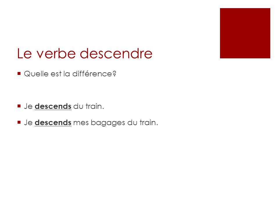 Le verbe descendre Quelle est la différence? Je descends du train. Je descends mes bagages du train.