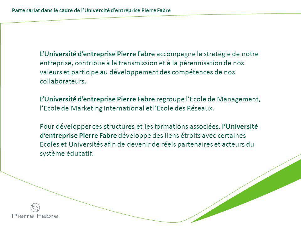 Partenariat dans le cadre de lUniversité dentreprise Pierre Fabre LUniversité dentreprise Pierre Fabre accompagne la stratégie de notre entreprise, co