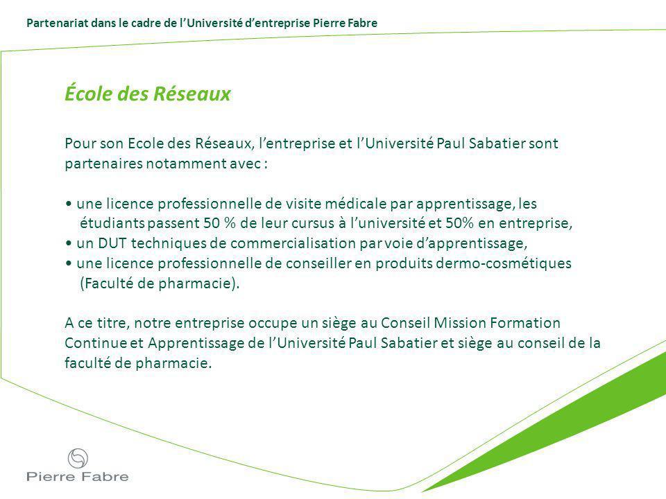 Partenariat dans le cadre de lUniversité dentreprise Pierre Fabre École des Réseaux Pour son Ecole des Réseaux, lentreprise et lUniversité Paul Sabati