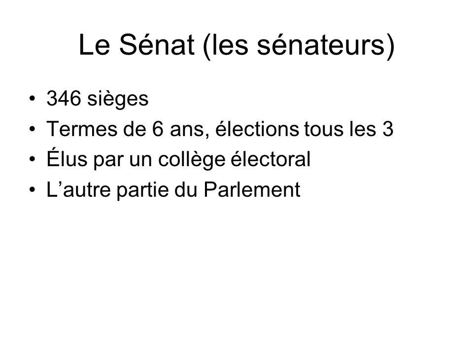 Élections Européens Pour le Parlement de lUE 5 ans chaque terme À peu près 736 sièges dont 72 pour la France Élections par circonscription (constituency) – il y en a 9