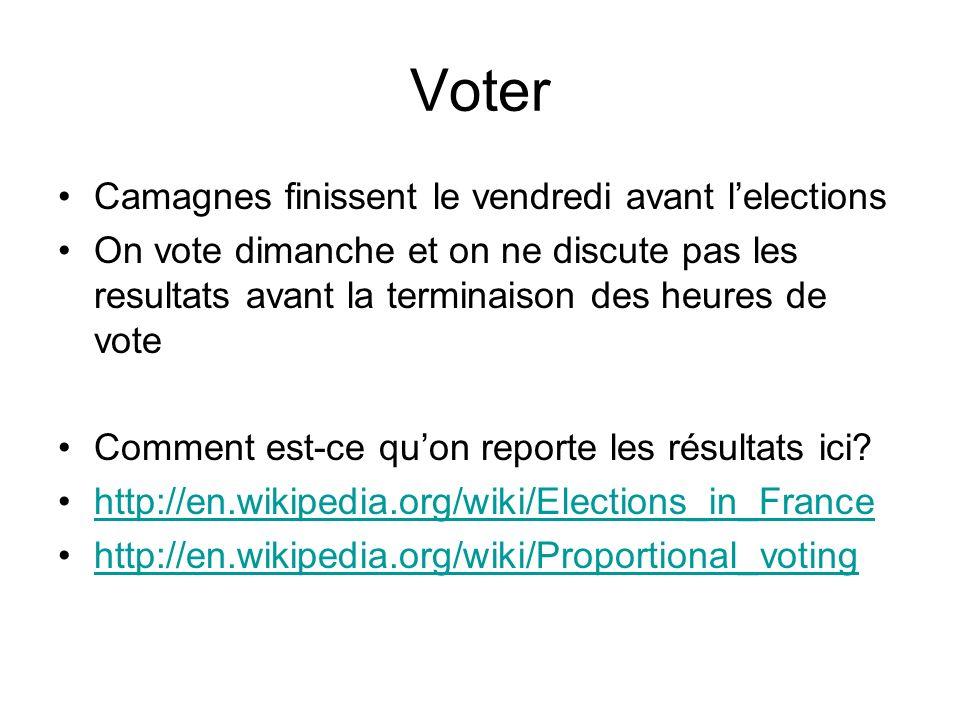 Voter Camagnes finissent le vendredi avant lelections On vote dimanche et on ne discute pas les resultats avant la terminaison des heures de vote Comm