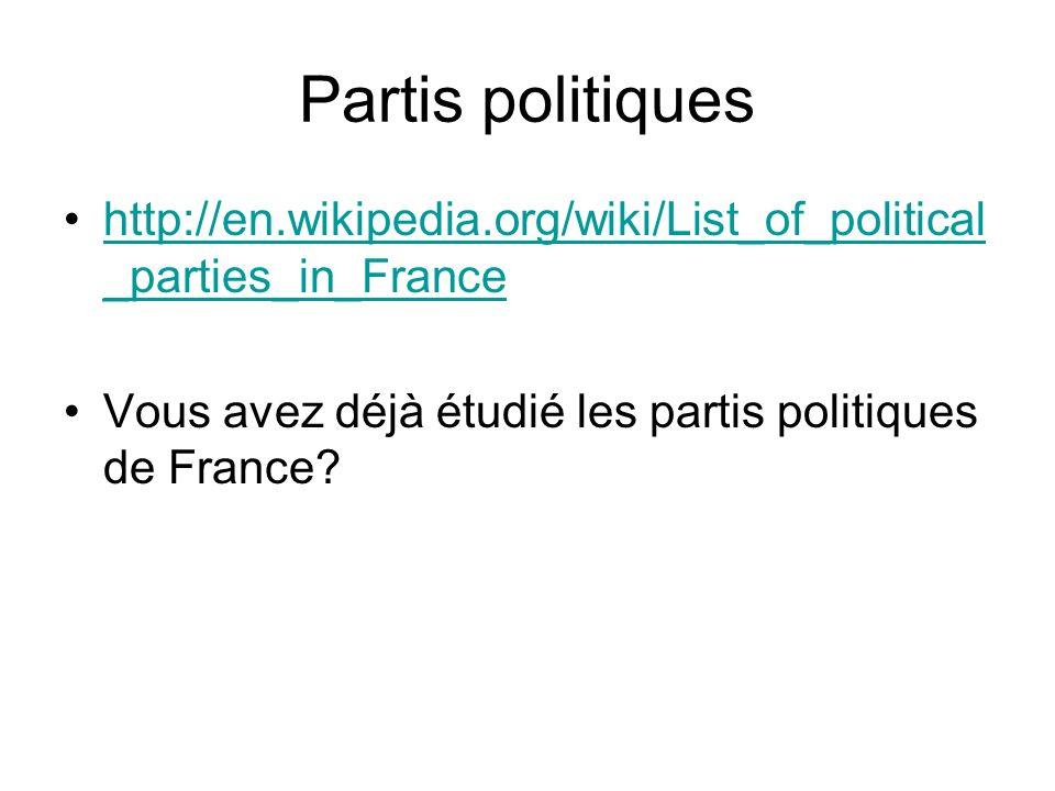 Partis politiques http://en.wikipedia.org/wiki/List_of_political _parties_in_Francehttp://en.wikipedia.org/wiki/List_of_political _parties_in_France Vous avez déjà étudié les partis politiques de France?