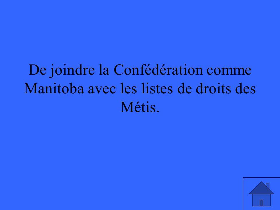 De joindre la Confédération comme Manitoba avec les listes de droits des Métis.