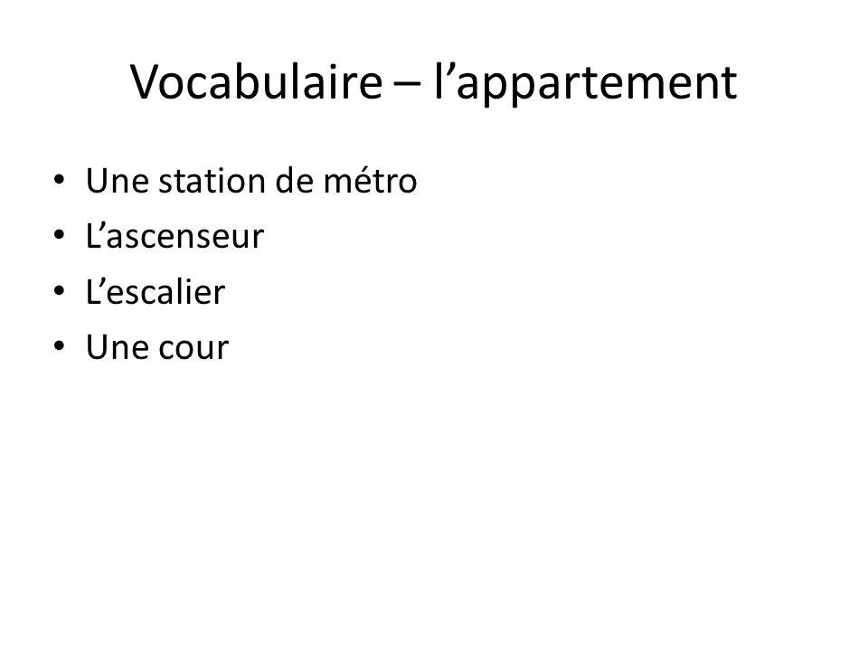 Vocabulaire – lappartement Une station de métro Lascenseur Lescalier Une cour