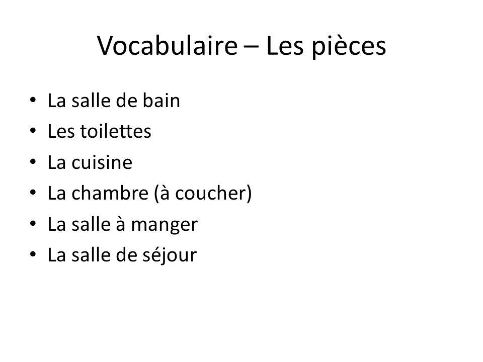 Vocabulaire – Les pièces La salle de bain Les toilettes La cuisine La chambre (à coucher) La salle à manger La salle de séjour