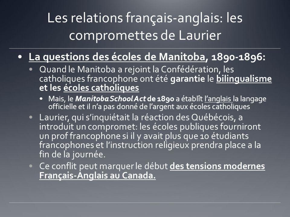 Les relations français-anglais: les compromettes de Laurier La questions des écoles de Manitoba, 1890-1896: Quand le Manitoba a rejoint la Confédérati