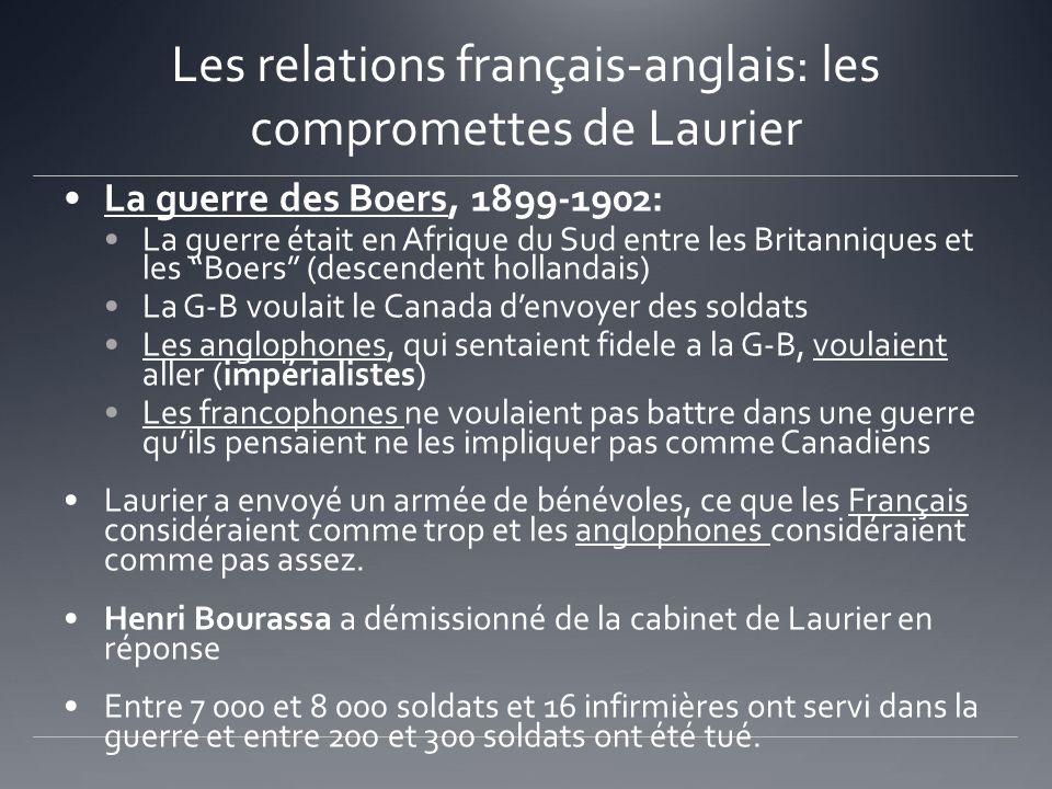Les relations français-anglais: les compromettes de Laurier La guerre des Boers, 1899-1902: La guerre était en Afrique du Sud entre les Britanniques e