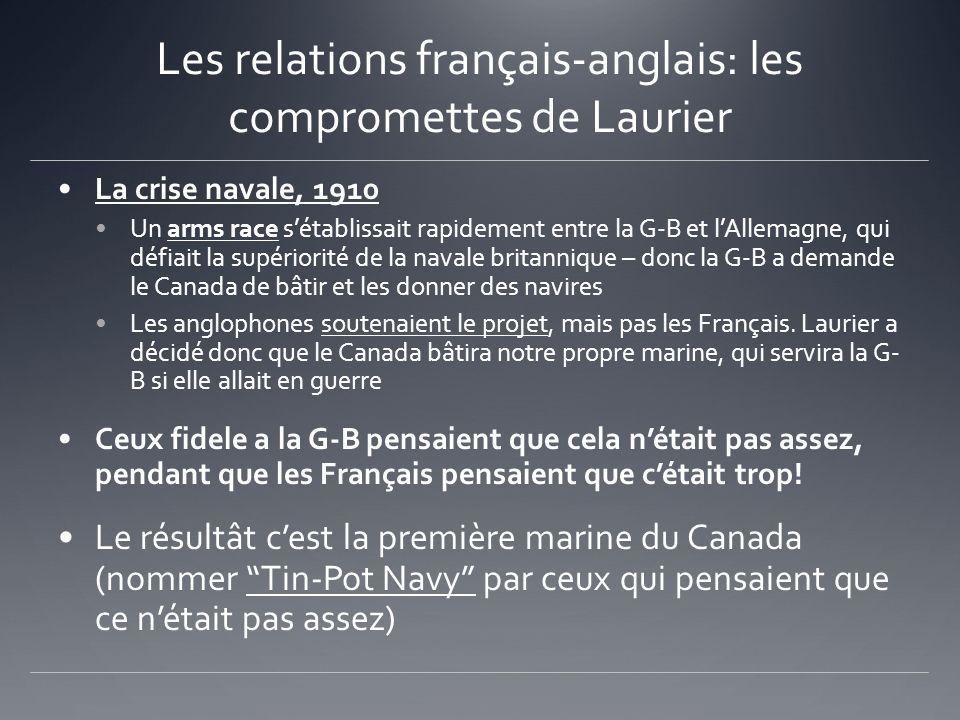 Les relations français-anglais: les compromettes de Laurier La crise navale, 1910 Un arms race sétablissait rapidement entre la G-B et lAllemagne, qui