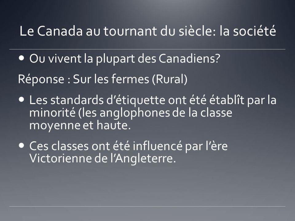 Le Canada au tournant du siècle: la société Ou vivent la plupart des Canadiens? Réponse : Sur les fermes (Rural) Les standards détiquette ont été étab