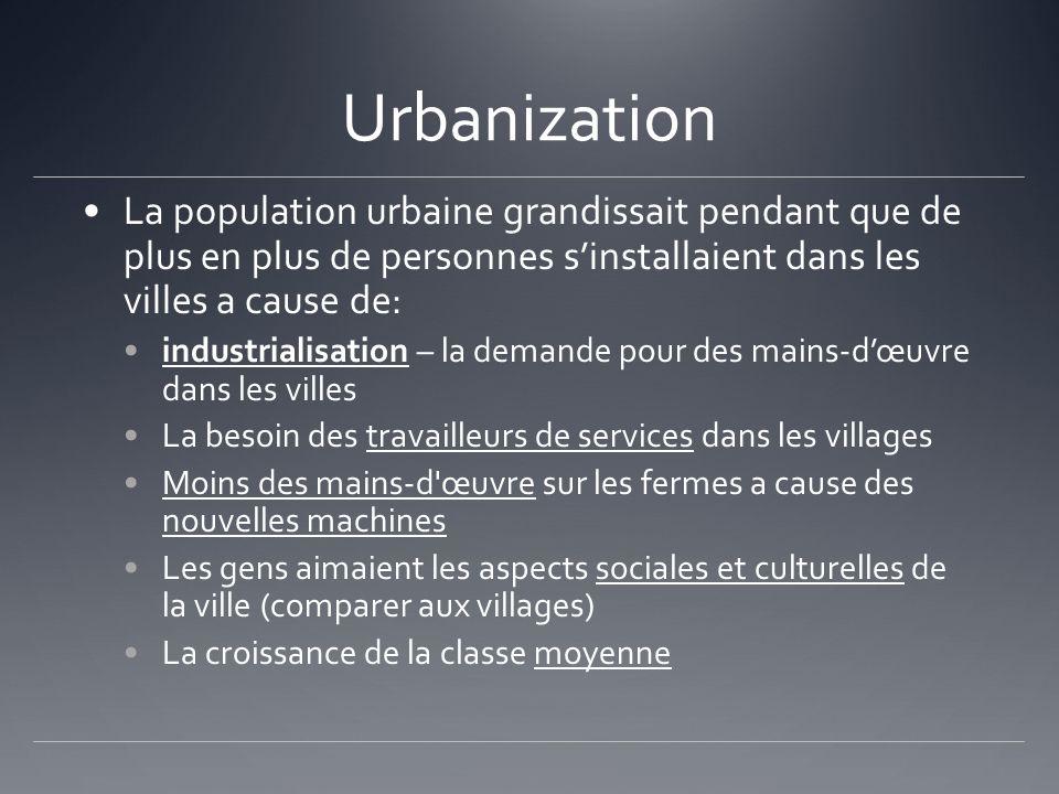 Urbanization La population urbaine grandissait pendant que de plus en plus de personnes sinstallaient dans les villes a cause de: industrialisation –