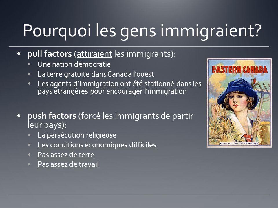 Pourquoi les gens immigraient? pull factors (attiraient les immigrants): Une nation démocratie La terre gratuite dans Canada louest Les agents dimmigr