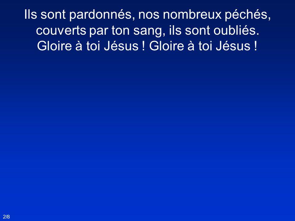 2/8 Ils sont pardonnés, nos nombreux péchés, couverts par ton sang, ils sont oubliés. Gloire à toi Jésus !