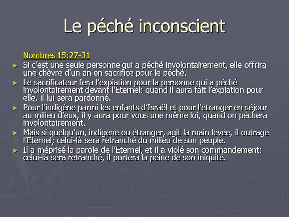 Le péché inconscient Nombres 15:27-31 Si cest une seule personne qui a péché involontairement, elle offrira une chèvre dun an en sacrifice pour le péc