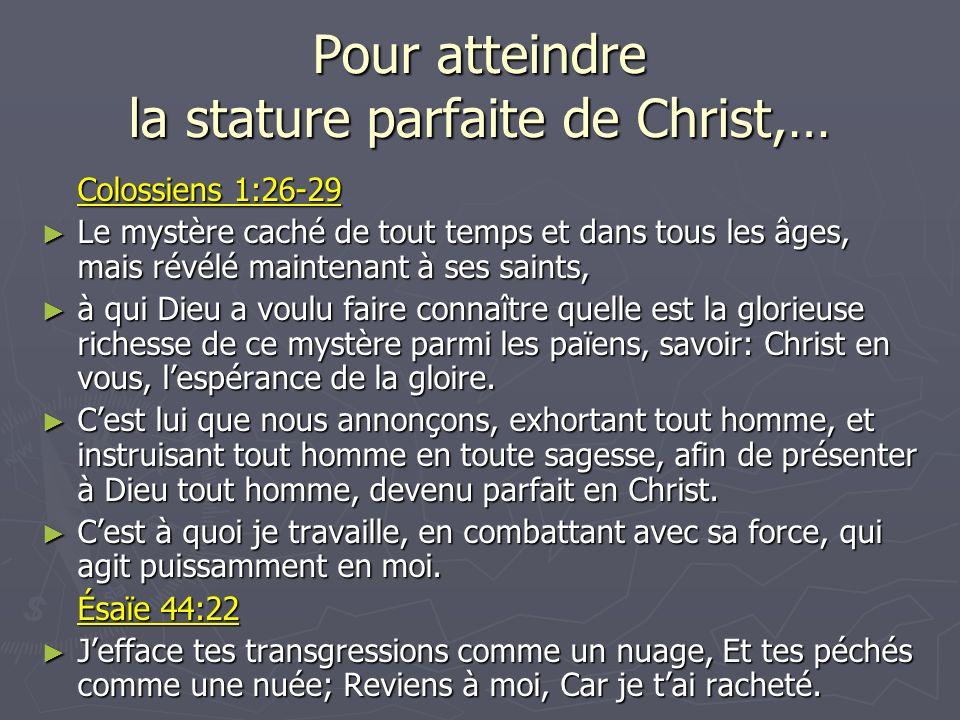 Le Plan du Salut Schématisé Pour atteindre la stature parfaite de Christ, (Col.
